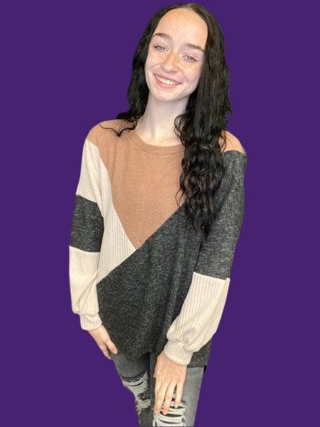 Charcoal & Mocha Color Block Sweater