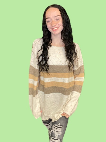 LARGE & 2X ONLY - CODE GOTTAGO - Taupe & Honey Confetti Sweater