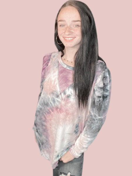 Long Sleeve Purple Tie Dye Top with Reverse Stitching Detail