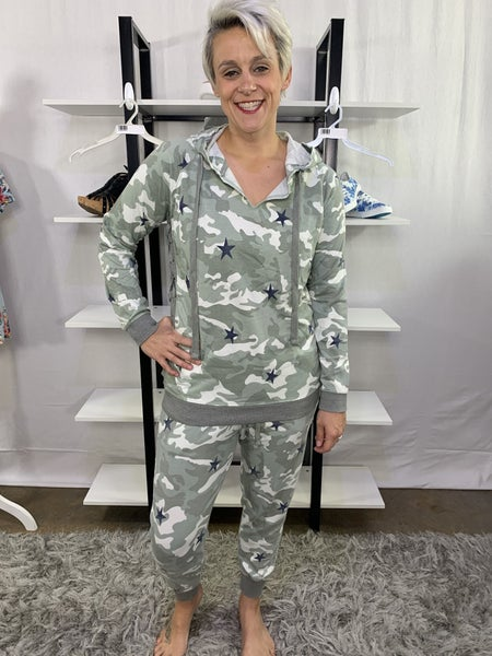 HoneyMe French Terry Olive Camo Joggers