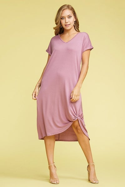 Baby French Terry V-Neck Twist Dress in Lavender