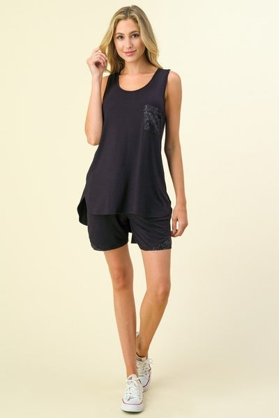 Sparkly Sequined pocket Tank Top with Shorts Sets