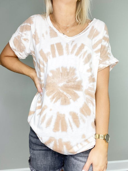 DOORBUSTER Tan Tie Dye Short Sleeve Top