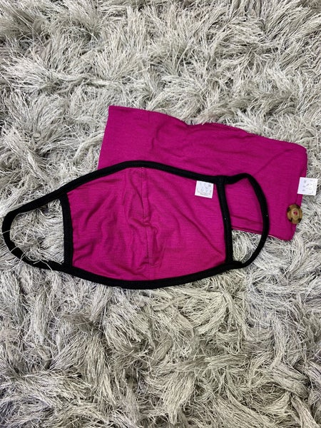 Magenta Headband with Buttons and Face Covering