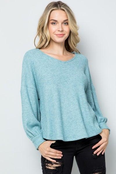 Waffle Cashmere Sweater in Seafoam Blue