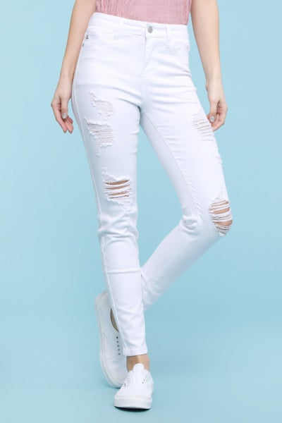 Judy Blue White Ankle Fray Destroyed Skinny Jeans