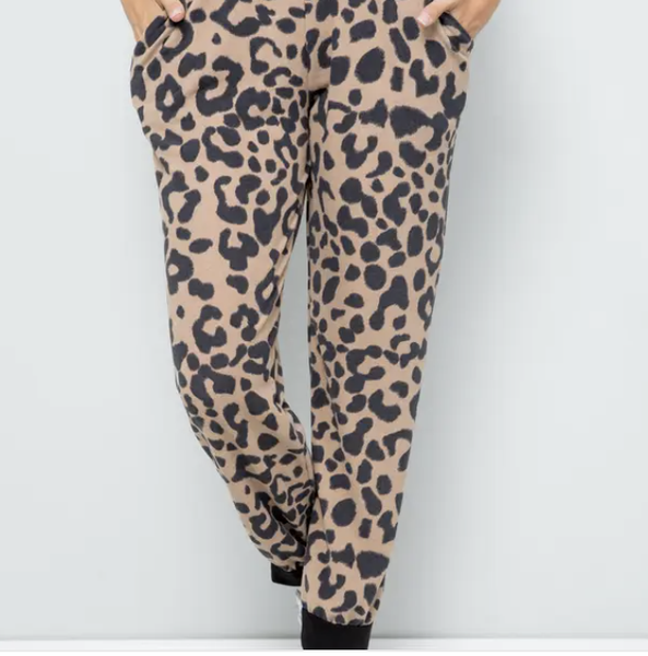 SMALL ONLY -Mocha or Gray Leopard Print Joggers with Pockets