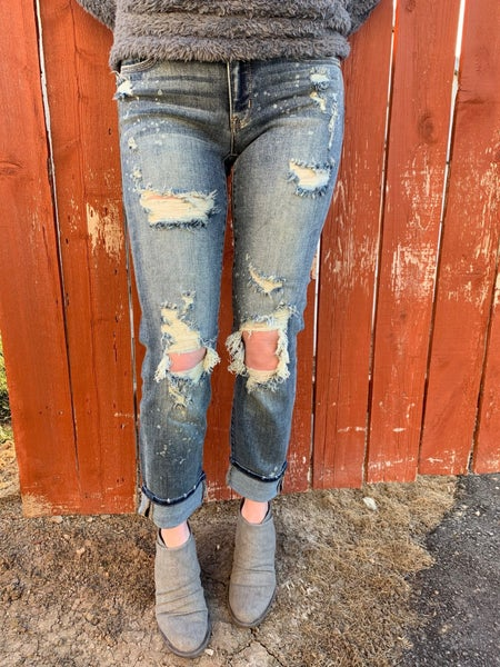 Judy Blue Destroyed Bleached Splash Boyfriend Jeans