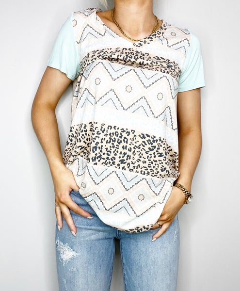 Mocha and Light Mint V-Neck with Contrasting Sleeve