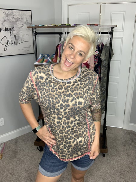 HoneyMe Golden Leopard Top with Hot Pink Detail Stitching