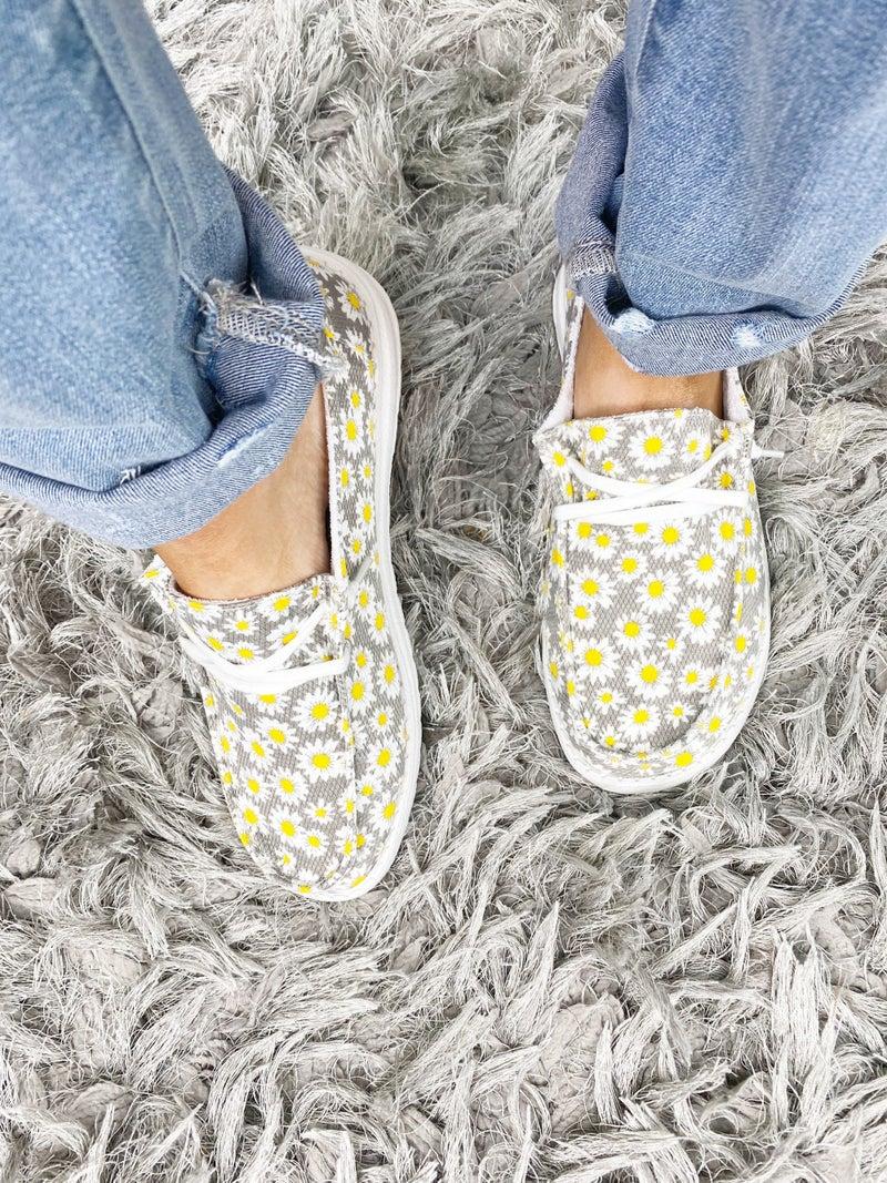Gypsy Jazz Gray Yellow Daisy Slip Ons