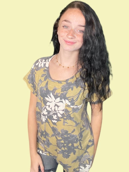 Sew In Love Mustard & Charcoal Short Sleeve Top with Front Pocket