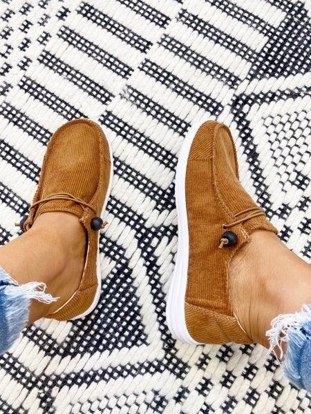 Corkys Kayak Cognac Corduroy Slip On Sneaker