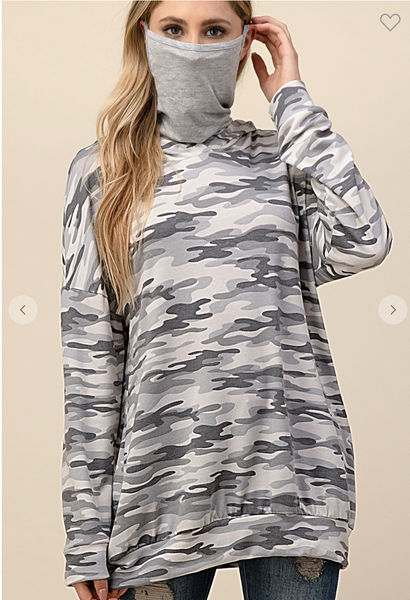 Gray Camo Long Sleeve Hoodie with Mask/Face Cover