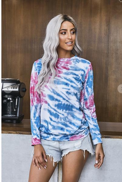 Rose Blue Tie Dye Print Long Sleeve Top