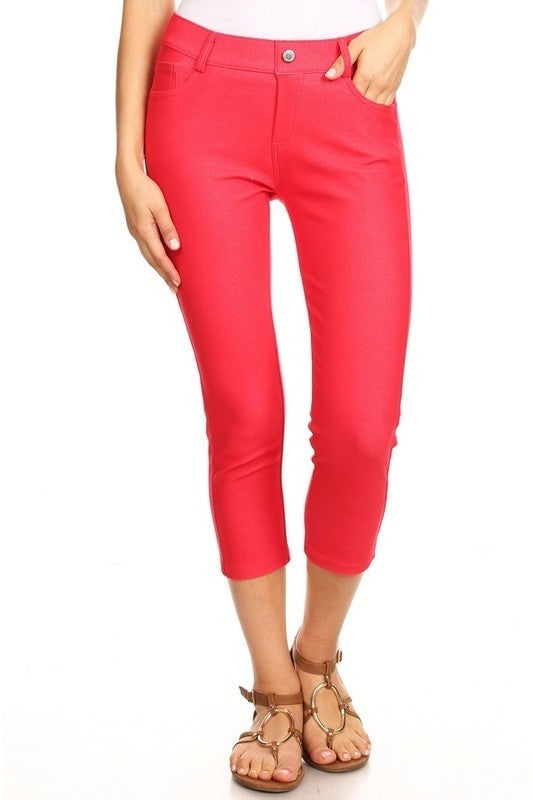 Women's Classic Solid Capri Jeggings in Red