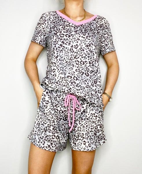 Gray Animal Print Shorts
