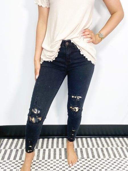 Judy Blue Black Destroyed Leopard Patch Skinny Jeans
