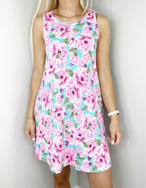 XL & 2X ONLY Turquoise and Pink Floral Swing Dress