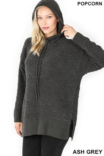 Hooded Popcorn Sweater in Plus ***MULTIPLE COLORS***