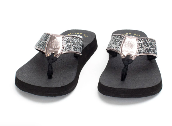 Yellow Box Nancy -  Pewter Flip Flop