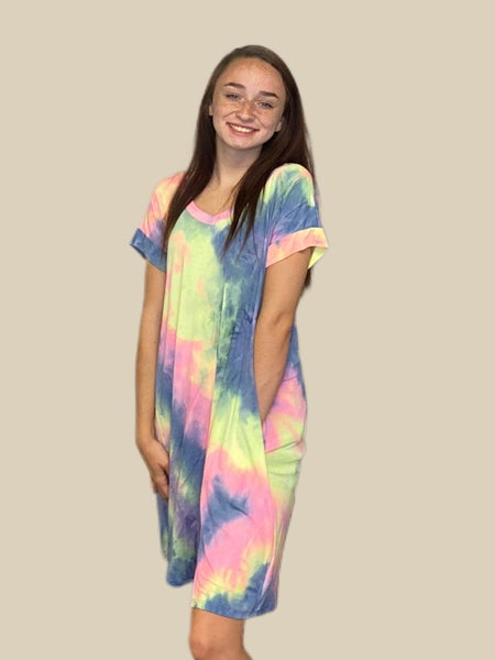 HoneyMe Navy and Pink  Tie Dye Dress