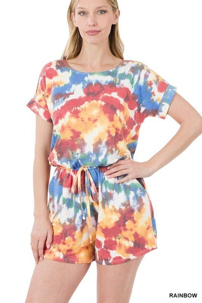 French Terry Tie Dye Romper with Pockets