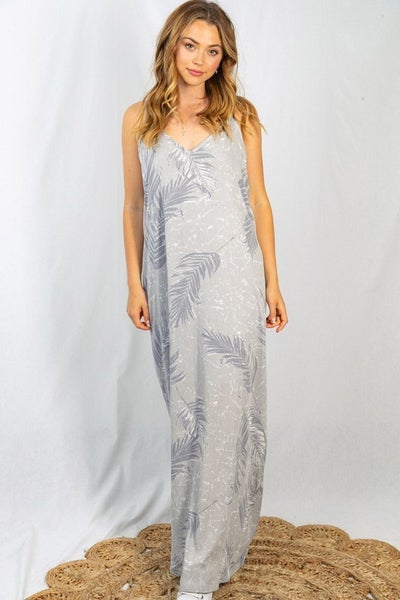 Sleeveless Feather Print Woven Dress