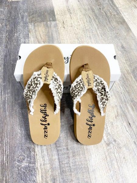 Size 6 ONLY -Gypsy Jazz GJazz Leopard Flip Flops