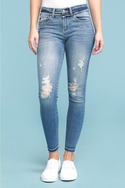 Judy Blue Raw Waistband Skinny Jeans