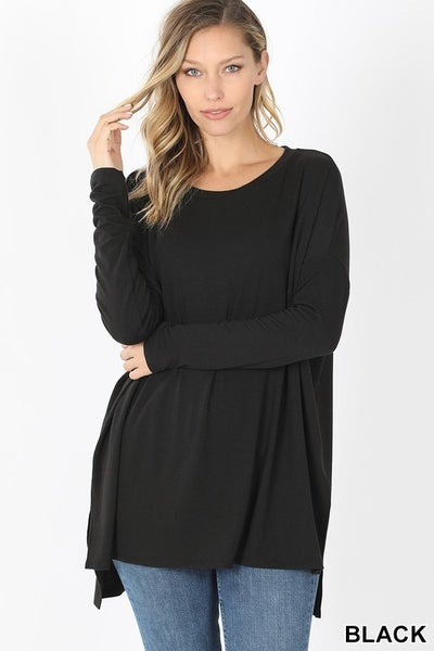 PLUS - Dolman Long Sleeve Round Neck with Side Slits ***MULTIPLE COLORS***