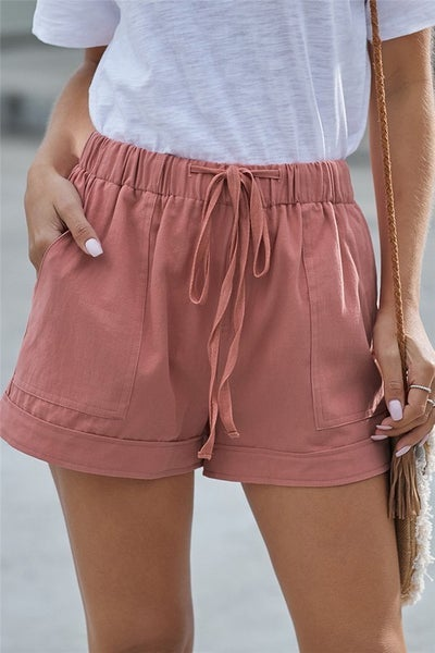 Dusty Strive Pocketed Tencel Shorts in Pink
