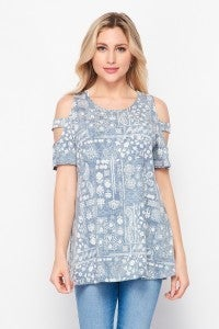 SMALL ONLY Denim and Ivory Cold Shoulder Top