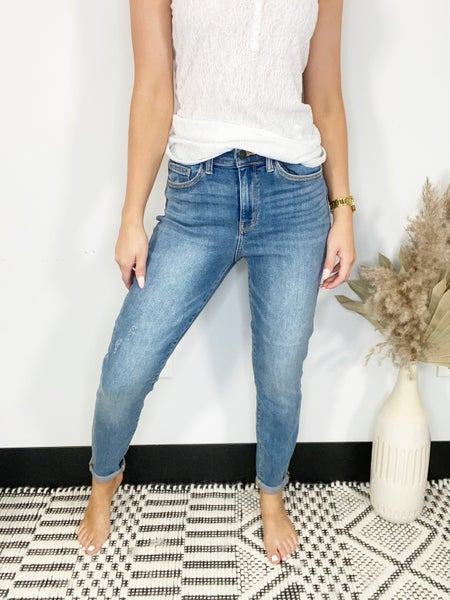 Judy Blue Medium Wash High Rise Double Cuff Slim Fit Jeans