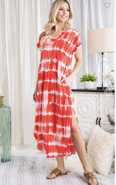TIE DYE MAXI DRESS WITH SIDE SLIT IN CORAL