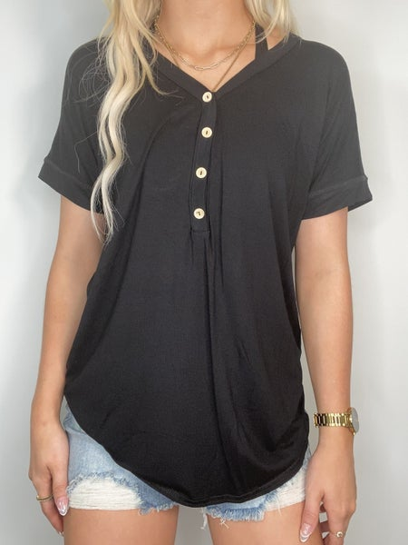 Black V-Neck Top with Buttons