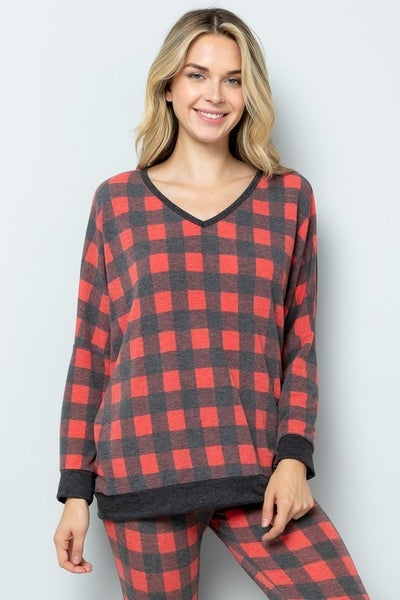 SMALL & 1X ONLY - Buffalo Check Dolman Top in Red