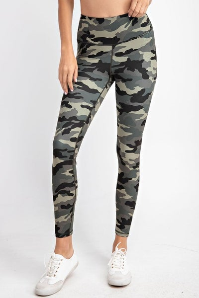CURVY ONLY - Camo Yoga Leggings in Olive