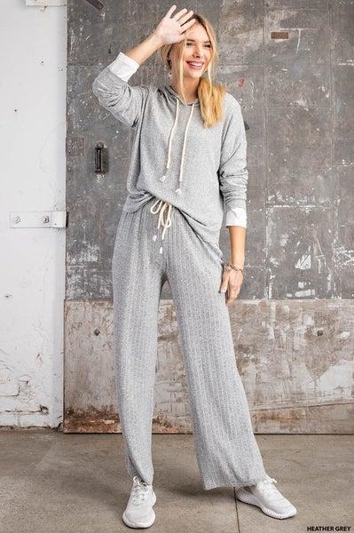 Heather Gray Ribbed Lounge Pants