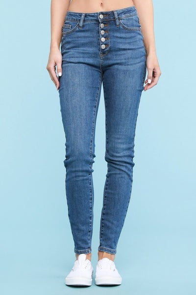 LAST ONE - Judy Blue Button Fly Skinny Jeans