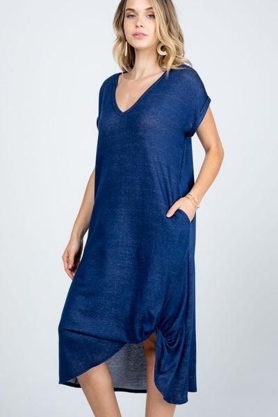 Baby French Terry V-Neck Twist Dress in Denim
