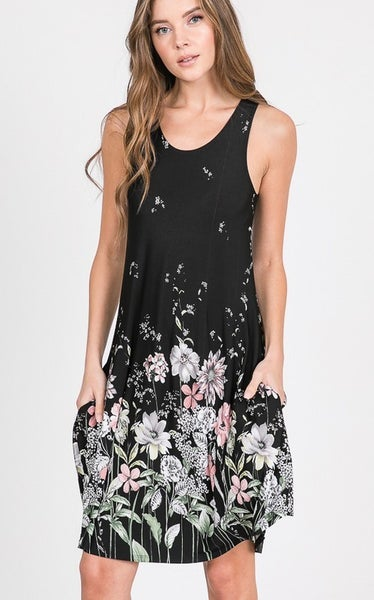 Floral Print Dress with Side Pocket