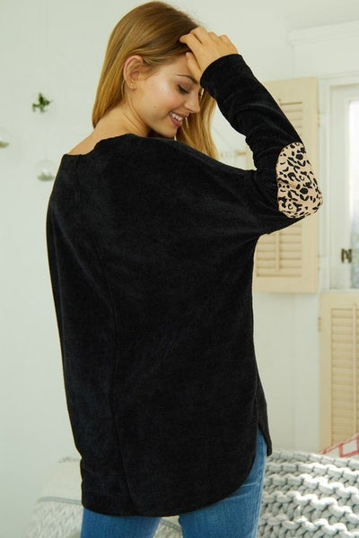 White Birch Boat Neck Top with Cheetah Print Patches