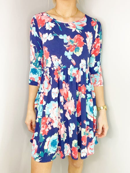 Bulgari Floral Print Long Sleeve Babydoll Dress