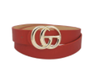 !FASHION TRENDY CRANBERRY LONG BELT WITH GOLD BUCKLE