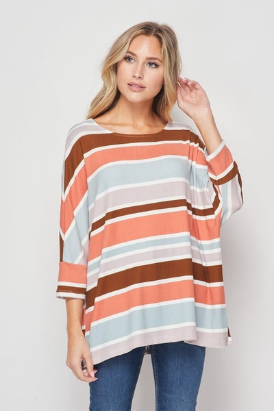 HoneyMe Striped Boxy Top in Marsala and Sage