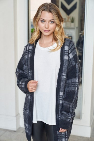 Small ONLY - White Birch Plaid Sweater Cardigan