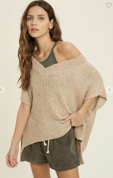 Short Sleeve V-Neck Sweater in Taupe