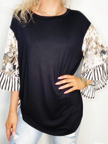 Black and Taupe Bell Sleeve