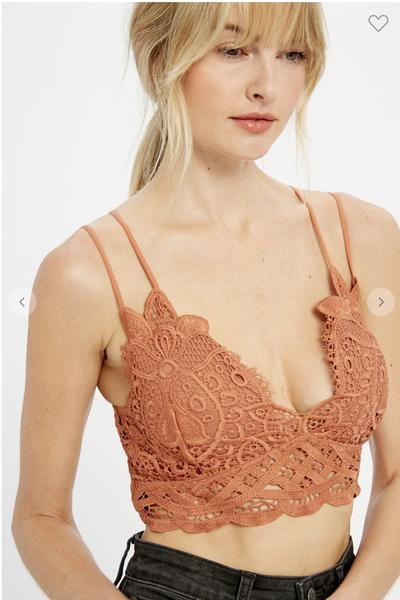 !Doily Crochet Lace Bralette-Terracotta